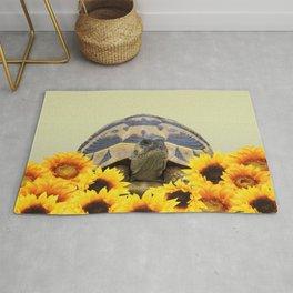 Tortoise Turtle in Sunflower Field #sunflowers #society6 Rug