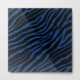 Ripped SpaceTime Stripes - Glitter Blue Metal Print