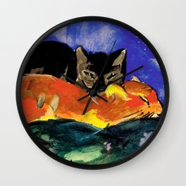 Franz Marc - Two Cats, postcard from Sindelsdorf to Lily Klee Munich Wall Clock