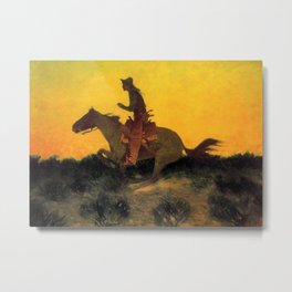 """Frederic Remington Western Art """"Against the Sunset"""" Metal Print"""
