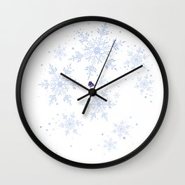 Snowflakes and violet bird Wall Clock