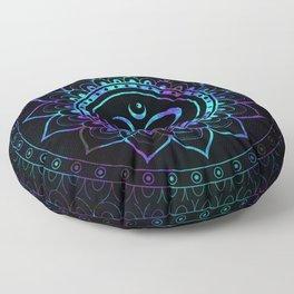 Om Mandala: Violet Teal Blue Galaxy Floor Pillow