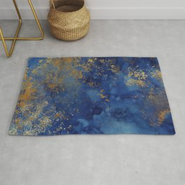 Night Blue And Gold Marbled Texture Rug