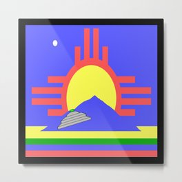 flag of Roswell with flying saucer Metal Print