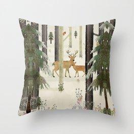 nature's way the deer Throw Pillow