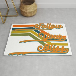 Retro Follow Your Bliss 1.0 Inspirational Motivational Quote Rug