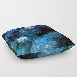 monet water lilies 1899 blue Teal Floor Pillow