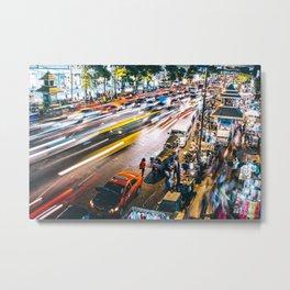 Bangkok Street Night Metal Print