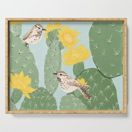Prickly Pear with Wrens  Serving Tray