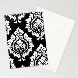 Decorative Damask Art I White on Black Stationery Cards