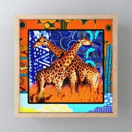 African Giraffe Love Framed Mini Art Print
