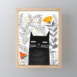 black cat with botanical illustration Framed Mini Art Print