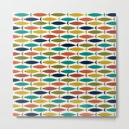 Midcentury Modern Fish Pattern in Mid Mod Teal, Olive, Mustard, Orange on Off-White Metal Print