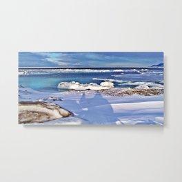 Frozen Selfie by the Sea Metal Print