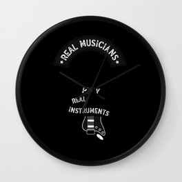 Real Musicians Play Real Instruments Rock Country design Wall Clock