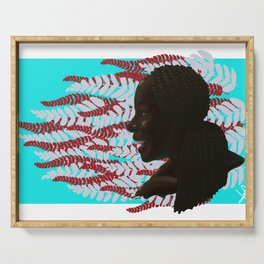Black woman with braids floral Serving Tray