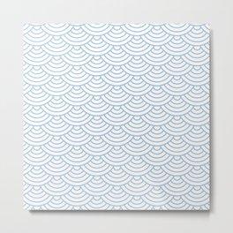 Pale Blue Japanese wave pattern Metal Print