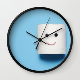 Happy smiling toilet paper on blue Wall Clock