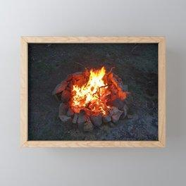 Colorado Summer Camp Fire Framed Mini Art Print