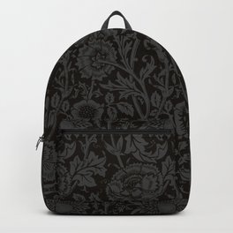 "William Morris Floral Pattern   ""Pink and Rose"" in Black and Grey   Vintage Flower Pattern Backpack"