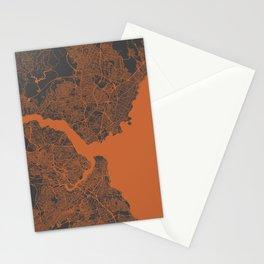 Istanbul Map orange Stationery Cards