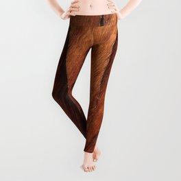 Beautiful Unique  brown wood inlay marquetry veneer design Leggings
