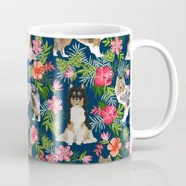 Shetland Sheepdog sheltie tropical florals floral dog breed pattern gifts for dog lover Coffee Mug