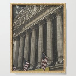 New York, Wall Street, stock exchange building, US flag, I love NY Serving Tray