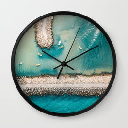 I Need The Sea Because It Teaches Me, Aerial Beach Home Print | Ocean Wall Art | Sea Large Print Wall Clock
