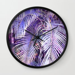 Feather palm leaf - iridescent Wall Clock