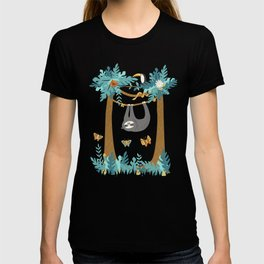 Sloth Hanging in a Teal Forest T-shirt