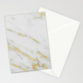 Marble - Shimmery Gold Marble on White Pattern Stationery Cards