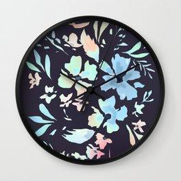 floral blues Wall Clock