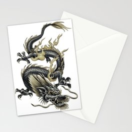 Lucky Chinese Dragon In Gray and Gold Stationery Cards