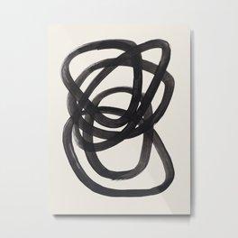 Mid Century Modern Minimalist Abstract Art Brush Strokes Black & White Ink Art Spiral Circles Metal Print