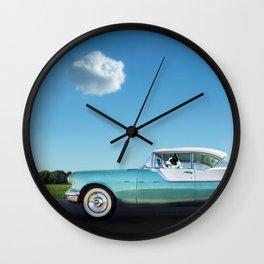 Border Collie Road Trip Wall Clock
