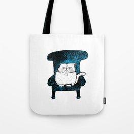 Staring Cat (Blue) Tote Bag