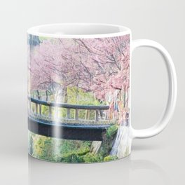 Cherry Tree Blossoms of Spring Along the River Portrait Painting Coffee Mug