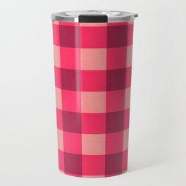 Pink Buffalo Check Pattern Travel Mug