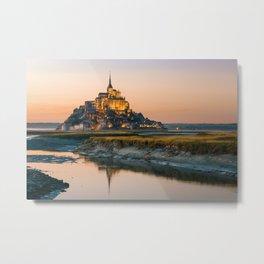 Sunset to Mont Saint Michel Metal Print
