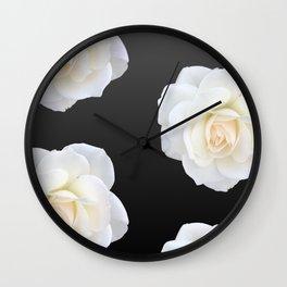 Cream Rose Polka Dot on Black Wall Clock