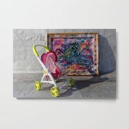 Stroller With Rainbox Octopus Metal Print