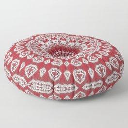Red White Bohemian Mandala Design Floor Pillow