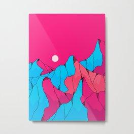 Pink blue mountains Metal Print