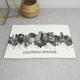 Colorado Springs Colorado Skyline BW Rug