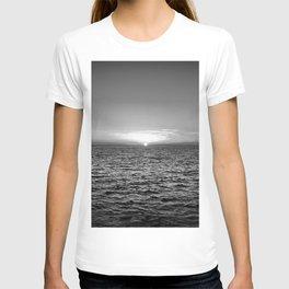 summer sunset at peroj beach croatia istria black white T-shirt