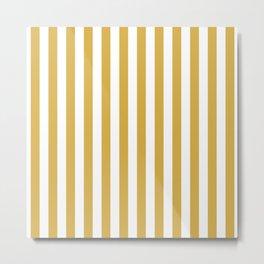 Large Mustard Yellow and White Cabana Tent Stripe Metal Print