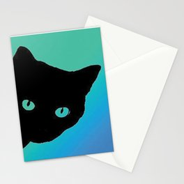 Black Cat Blue Green Stationery Cards