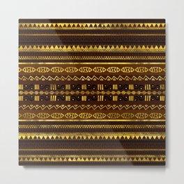 Ethnic African Golden Pattern on brown Metal Print