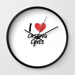 I Love Casting Lines Wall Clock